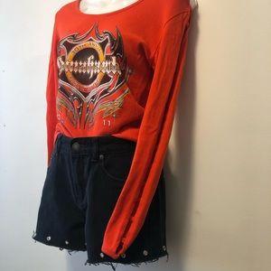 Vintage Orange Ladder Sleeve Motorcycle Shirt